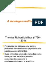 A abordagem Malthusiana sobre população e recursos naturais