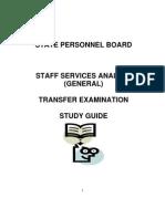 Staff Services Analyst Transfer Exam Studyguide