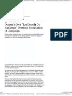 Obama's Own Let Detroit Go Bankrupt Destroys Foundation of CA