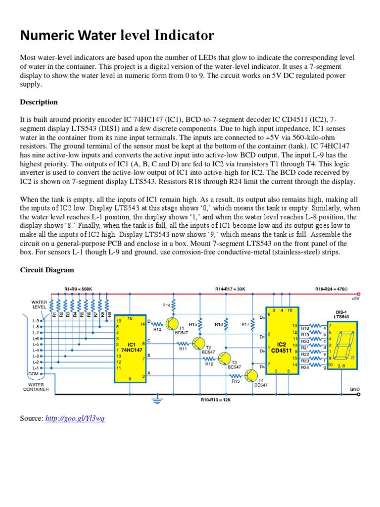 Numeric Water Level Indicator Circuit Diagram For The 7segment Display 1535762535v1