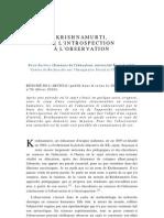 Krishnamurti, de l'Introspection à l'observation, par René Barbier