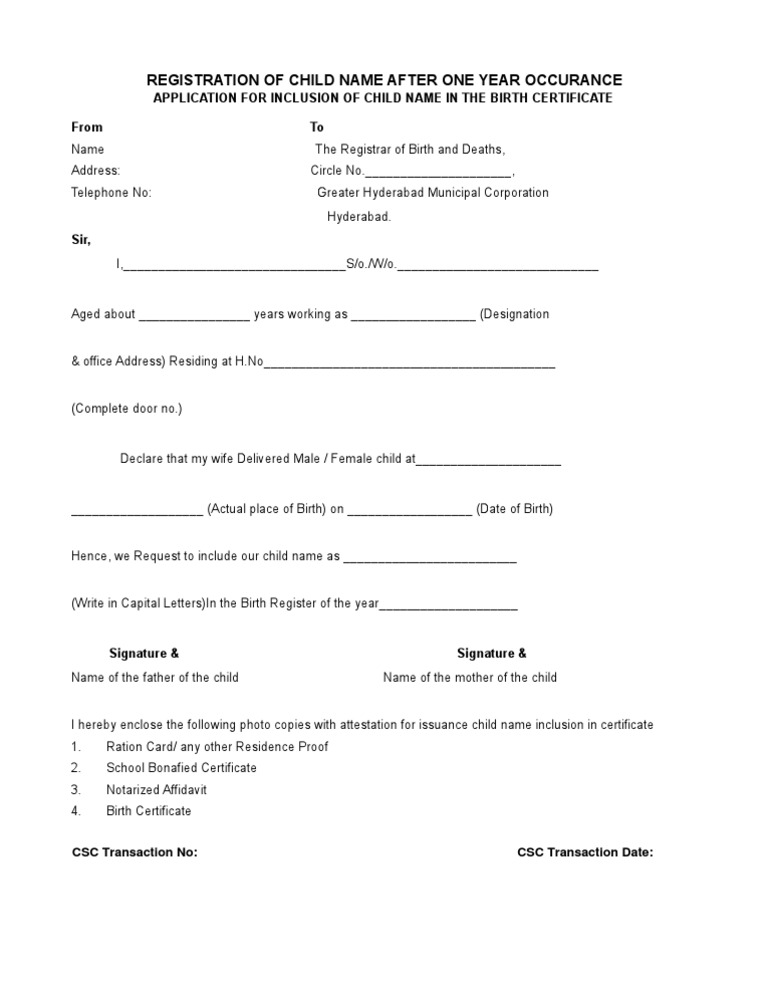 Ghmc Application Form For Inclusion Of Child Name In Birth