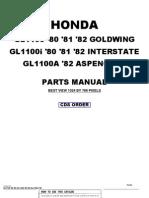 Honda Goldwing GL1100 1980 to 1982 Honda Parts Manual-B760B
