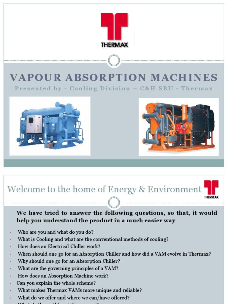 Presentation on Thermax Chiller unit | Refrigeration | Gas Compressor