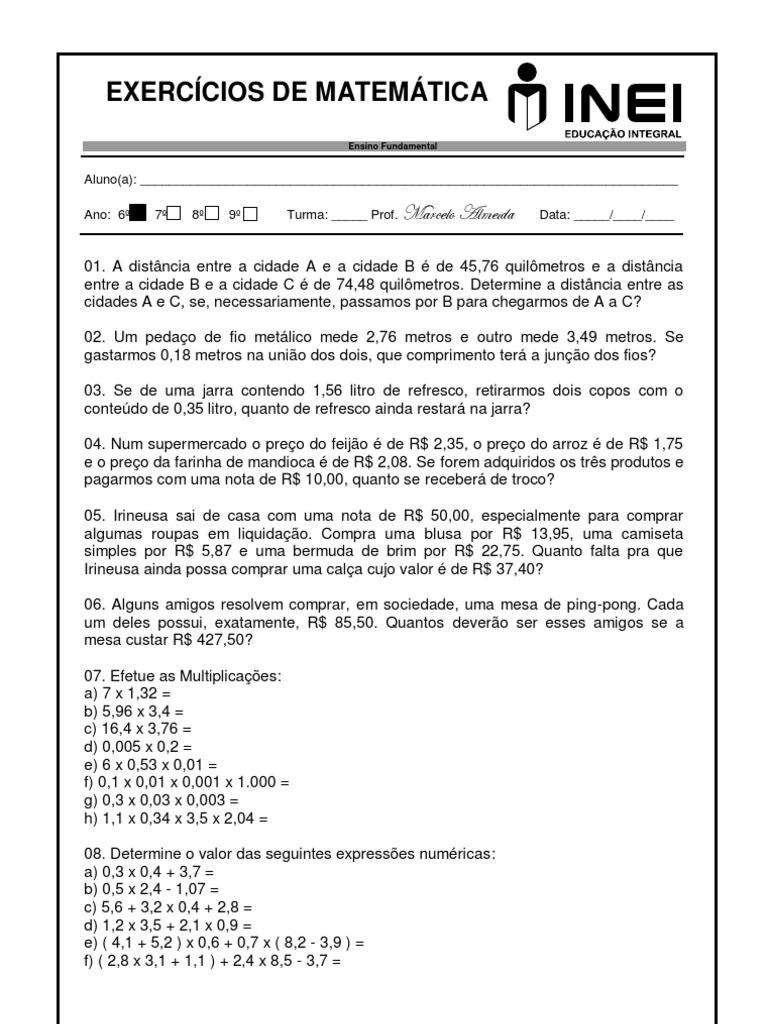 Fabuloso Lista 02 6 Ano (Problemas Numeros Decimais) KI97