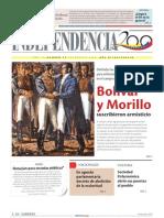 1820 Bolívar y Morillo suscribieron armisticio