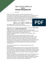 Adab Imam & Makmum Dalam Shalat Berjamaah