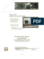 Revenue Status Report FY 2012-2013 - General Fund 20120930