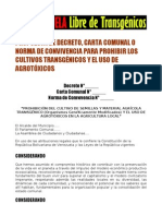 BORRADOR DE GACETA, CARTA COMUNAL O NORMA DE CONVIVENCIA ANTITRANSGÉNICA