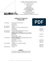Schedule of Divine Services for February 2009