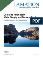 Colorado River Basin Water Supply & Demand Study Final Study Reports