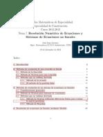 Resolucion Numerica de Ecuaciones y Sistemas de Ecuaciones No Lineales