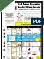 December 10th, 2012 - February 17th, 2013 Calendar