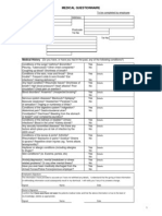 Medical Questionnaire Sept 06