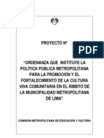 Proyecto Ordenanza para la Cultura Viva Comunitaria de Lima Metropolitana