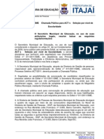Edital nº 013-2012-SME - Chamada Pública para ACTs - Seleção por Nível de Escolaridade.pdf