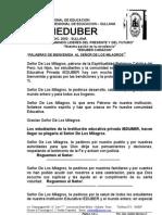 IEDUBER BIENVENIDA AL SEÑOR DE LOS MILAGROS