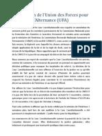 Déclaration de l'Union des Forces pour l'Alternance (UFA)