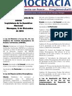 Barómetro Legislativo Diario del jueves, 13 de diciembre de 2012