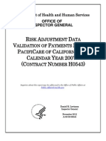 RISK ADJUSTMENT DATA VALIDATION OF PAYMENTS MADE TO PACIFICARE OF CALIFORNIA FOR CALENDAR YEAR 2007
