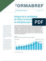 Analyse de la contribution de l'État à la formation continue en entreprise pour 2010