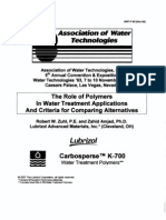 The Role of Polymers In Water Treatment Applications And Criteria for Comparing Alternatives
