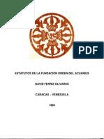 Estatutos de la Fundación Orden del Acuarius. David Ferriz Olivares. 1990