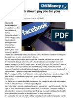 Why Facebook Should Pay You for Your Personal Info