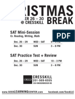 2012 Christmas Break Schedule Cresskill