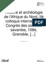 Histoire Et Arcgeologie de l Afrique Du Nord -Colloque 1983
