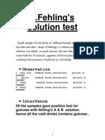 FEHLING'S SOLUTION TEST