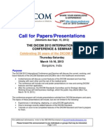 Call for Papers DICOM 2013 Conference