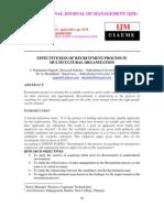 Effectiveness of Recruitment Process in Multicultural Organization