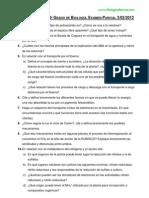 Examen Parcial 2012. Fisiología Vegetal.
