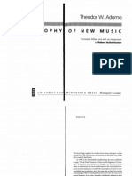 Theory Adorno. Philosophy of new music.
