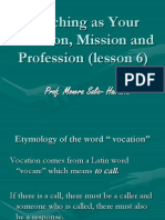 1)Lesson 5. Teaching as Your Vocation, Mission and Profession