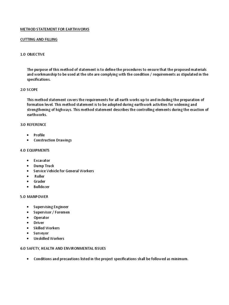 health and safety method statement template – Method Statement Template Doc