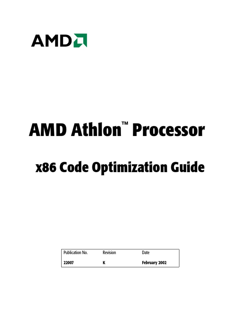 AMD Athlon Processor x86 Code Optimization Guide (Updated