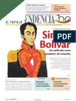 1825 Con mayoría aplastante de votos SimónBolívar fue ratificado comopresidente de Colombia