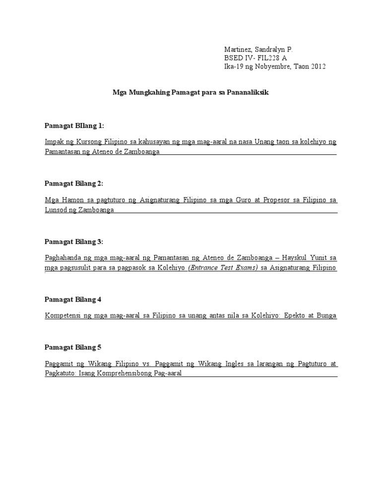 thesis sa filipino tungkol sa kultura