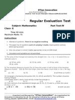 Regular Evaluation Test IV Maths X