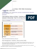 Calculating Value at Risk. FRM MBA Worksho