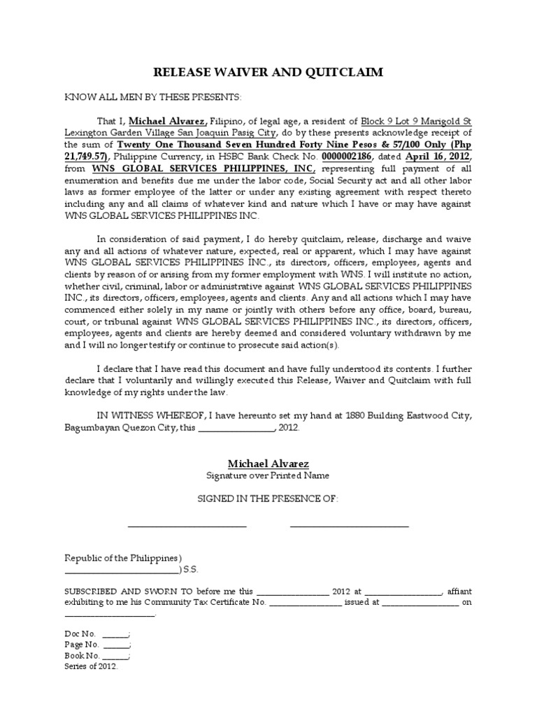 Release Waiver And Quitclaim Philippines Waiver