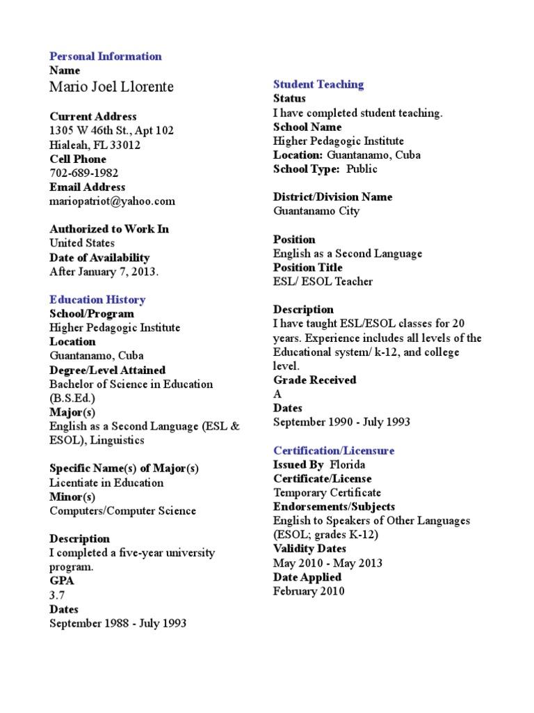 Resume cv for mario llorente english as a second or foreign resume cv for mario llorente english as a second or foreign language teachers 1betcityfo Images