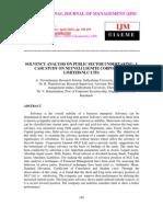 Solvency Analysis on Public Sector Undertaking a Case Study on Neyveli Lignite Corporation Limited(Nlc Ltd)