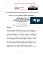 A Structural Analysis of Purchase Intention of Organic Consumers
