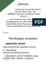 klasifikasi anastesi