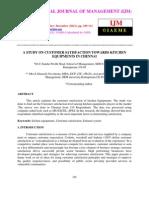 A Study on Customer Satisfaction Towards Kitchen Equipments in Chennai