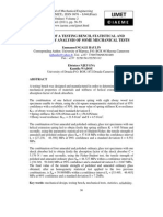 Design of a Testing Bench, Statistical and Reliability Analysis of Some Mechanical Tests