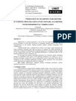 Study on Optimization of Machining Parameters in Turning Process Using Evolutionary Algorithm With Experimental Verification